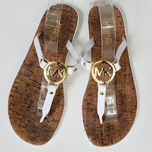 Michael Kors cork bottom flip flops medallion 9